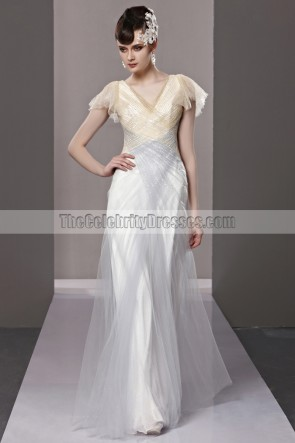 Celebrity Inspired V-Neck Cap Sleeves Evening Gown Prom Dress