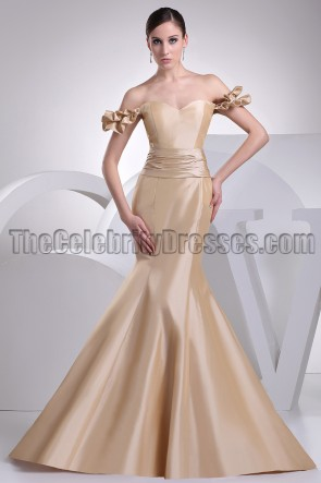 Champagne Mermaid Off-the-Shoulder Formal Pageant Dresses