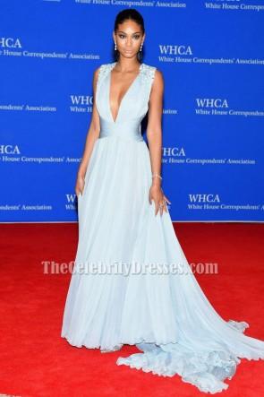 Chanel Iman lumière bleu ciel robe de soirée 2015 White House Correspondants 'Association Dîner