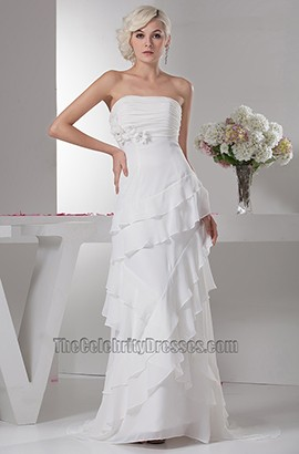 Chapel Train Sheath/Column Strapless Chiffon Wedding Dress