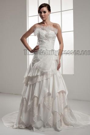Chapel Train Strapless A-Line Wedding Dresses