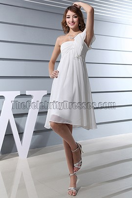 Discount White One Shoulder Cocktail Party Bridesmaid Dresses