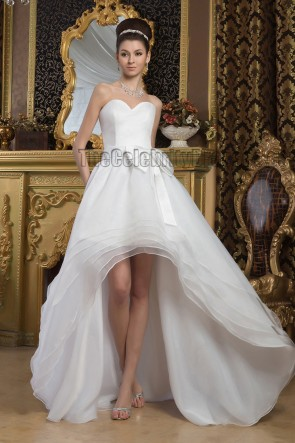 Chic A-Line Strapless Sweetheart High Low Informal Wedding Dress