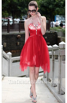 Red Halter Cocktail Party Homecoming Dresses