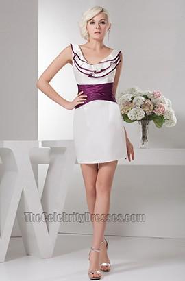 Short Mini White And Purple Party Graduation Homecoming Dresses