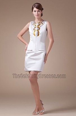 Chic Short White Sleeveless Graduation Cocktail Party Dresses