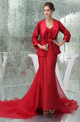 Red Strapless Formal Mother Of Bride Dress With A Wrap