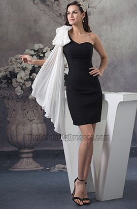 White And Black One Shoulder Cocktail Party Homecoming Dresses
