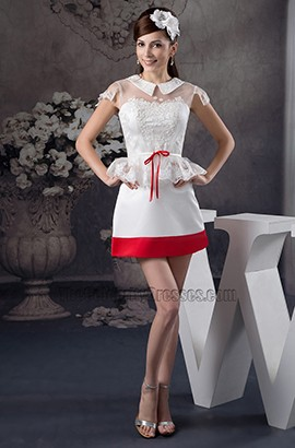 Gorgeous White And Red Cap Sleeve Party Homecoming Dresses