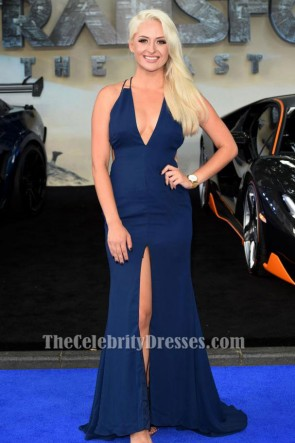 Chloe Paige Robe de soirée bleu marine 'Transformers The Last Knight' London Premiere