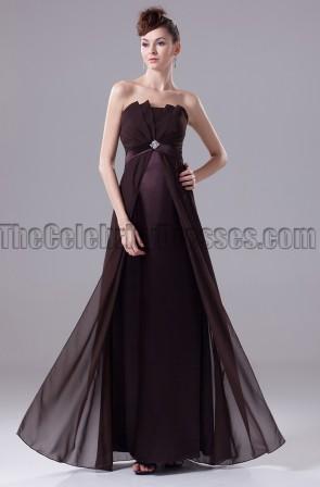 Elegant Chocolate Strapless Prom Gown Evening Dress