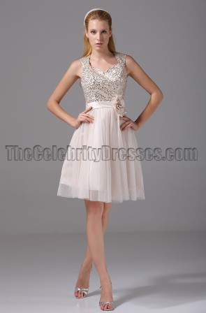 Cute Short A-Line Sequined Party Homecoming Dresses