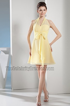Daffodil Halter Chiffon Short Party Homecoming Cocktail Dresses