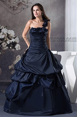 Dark Navy One Shoulder Ball Gown Taffeta Prom Formal Dresses