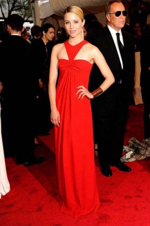Dianna Agron Red Prom Gown Evening Dress Costume Institute Gala 2011 Red Carpet