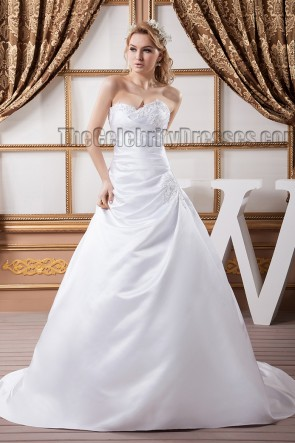 Discount A-Line Strapless Chapel Train Wedding Dresses