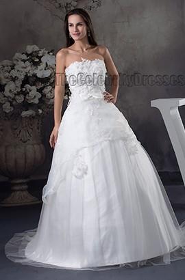 Discount Chapel Train Strapless A-Line Wedding Dresses