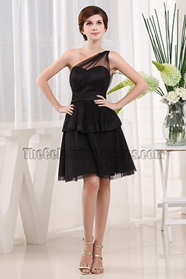 Discount One Shoulder Little Black Party Cocktail Dresses