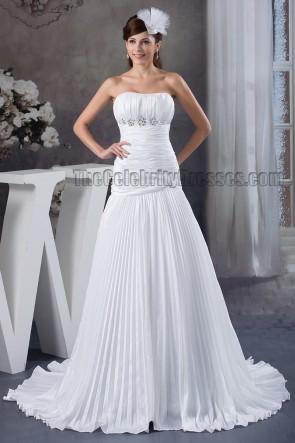 Discount Strapless A-Line Ruffles Sweep Brush Train Wedding Dress