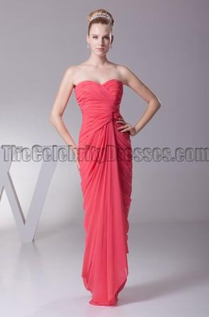 Discount Strapless Chiffon Bridesmaid Prom Dresses