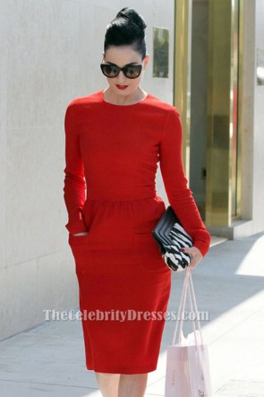 Dita Von Teese Red Long Sleeve Party Cocktail Pencil Dress TCDTB6210