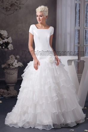 Elegant A-Line Short Sleeve Sweep Brush Train Wedding Dress