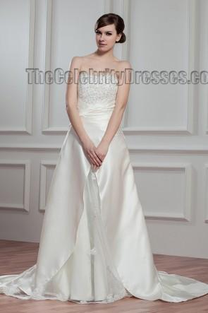 Elegant A-Line Strapless Chapel Train Wedding Dresses