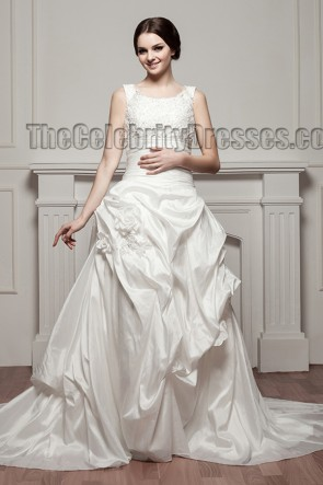 Elegant Embroidered A-Line Taffeta Chapel Train Wedding Dresses