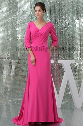 Elegant Fuchsia V-Neck Sweep Train Formal Dress Evening Gown