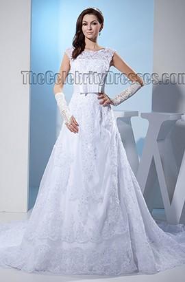 Elegant Lace A-Line Beaded Chapel Train Wedding Dresses