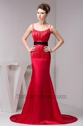 Elegant Red Spaghetti Straps Formal Dress Prom Gown With Black Belt