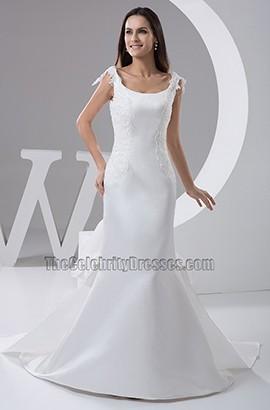 Elegant Chapel Train Satin Trumpet /Mermaid Wedding Dresses