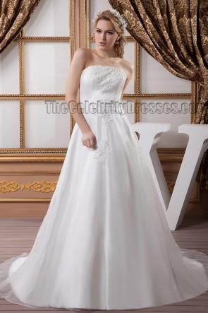 Elegant Strapless A-Line Embroidered Chapel Train Wedding Dresses