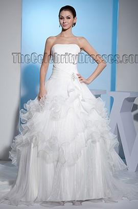 Elegant Strapless A-Line Ruffles Chapel Train Wedding Dress