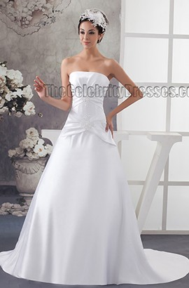 Elegant Strapless Beaded A-Line Chapel Train Wedding Dresses