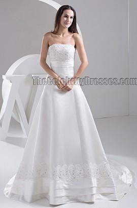 Elegant Strapless Embroidered A-Line Beaded Wedding Dress