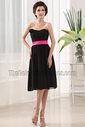 Elegant Strapless Knee Length Cocktail Dress Bridesmaid Dresses