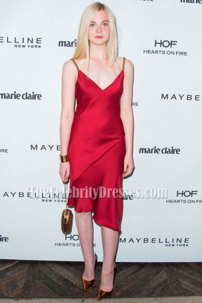 Elle Fanning Scarlet Robe de soirée cocktail Marie Claire Fresh Faces Party
