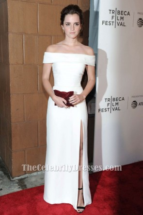 Emma Watson Robe de soirée blanche à épaules dénudées 'The Circle' Tribeca Film Festival