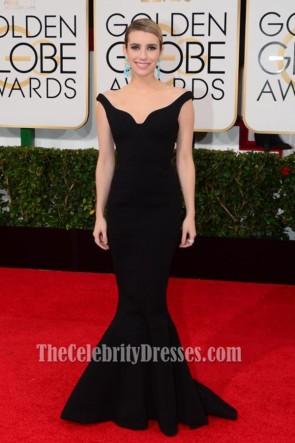 Emma Roberts 2014 Golden Globe Awards Black Formal Dress Red Carpet