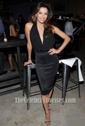 Eva Longoria Little Black Cocktail Dress Moments in Motion Event