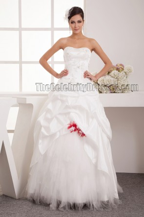 Floor Length A-Line Strapless Sweetheart Lace Up Wedding Dresses