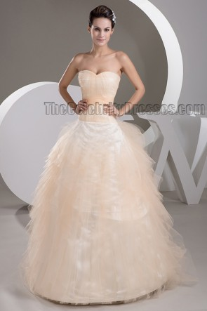 Floor Length A-Line Strapless Sweetheart Tulle Wedding Dress