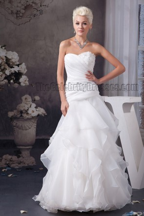 Floor Length A-Line Sweetheart Strapless Organza Wedding Dress