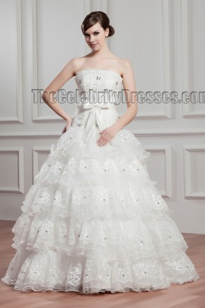 Floor Length Ball Gown Strapless Lace Wedding Dresses