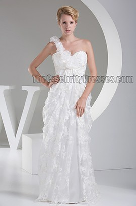 Floor Length One Shoulder Lace Wedding Dress Bridal Gown