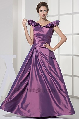 Floor Length Purple A-Line Prom Gown Evening Formal Dress