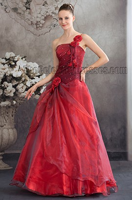 Floor Length Red One Shoulder A-Line Prom Gown Formal Dress