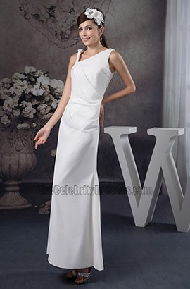 Floor Length Sheath/Column Asymmetric Neckline Wedding Dress