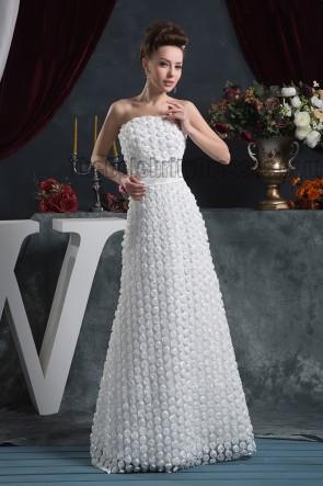 Floor Length Strapless 3D Flowers Wedding Dress Bridal Gown